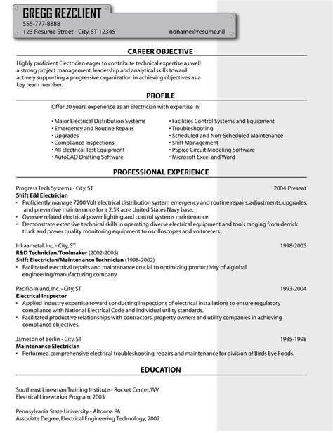 cv template electrician cv template for electrician technician sle