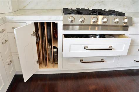 baking pan storage baking pan organzier transitional kitchen dearborn cabinetry