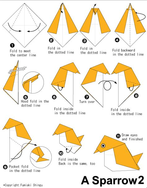 How To Make An Origami Sparrow - sparrow 2 easy origami for