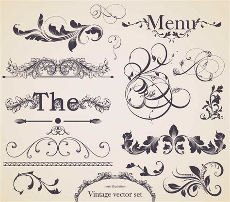 vintage menu design elements vector set floral decorative elements set vector free download