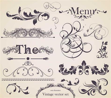 decorative vintage pattern with floral elements vector floral decorative elements set vector free download