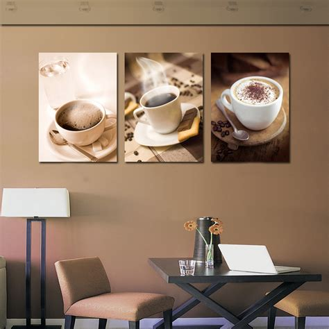 home decoration modern 3 piece wall decor pictures for 3 piece hot coffee cup painting wall art pictures kitchen