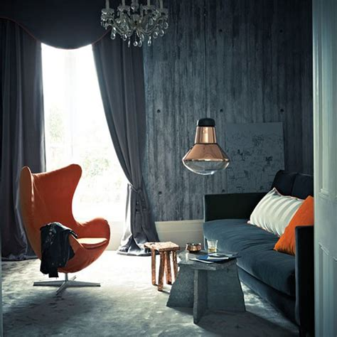Design Ideas For Grey Velvet Sofa Simple Living Room With Gray Wall Paint Orange Chair Velvet Sofa And Orange Pillow Copper