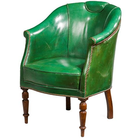 Green Leather Office Chair by 19th Century Green Leather Chair At 1stdibs