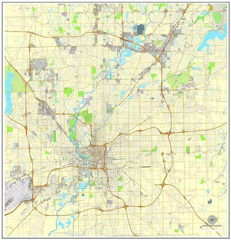 map us indiana indianapolis printable map indiana us city plan map