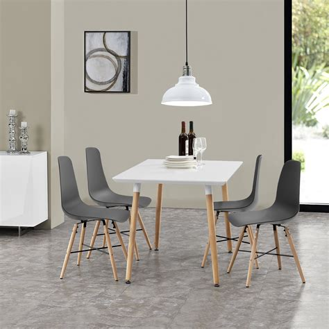 dining table with 4 chairs white grey 120x70cm kitchen