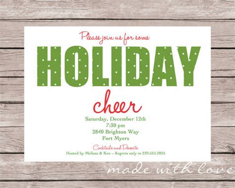 holiday party invitation 8 design template sle