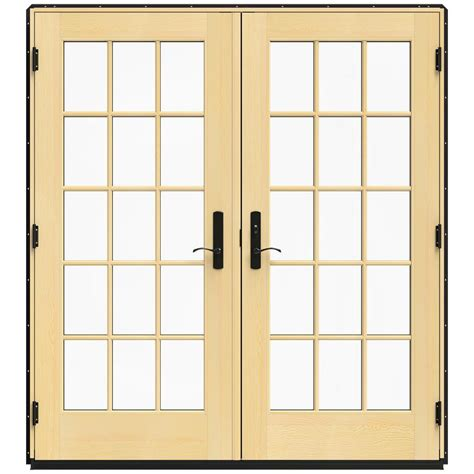 jeld wen 71 25 in x 79 5 in w 4500 black left inswing wood patio door