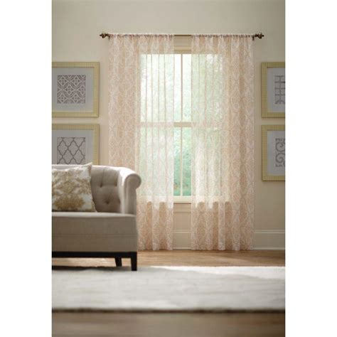 home decorators collection 48 in 84 in l 7 16 in home decorators collection ivory rod pocket printed sheer