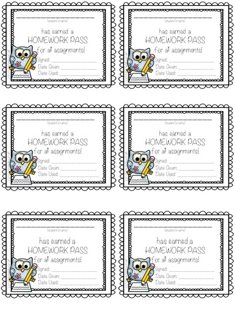 free homework pass template homework pass template free photos
