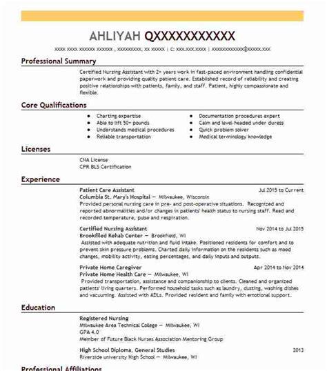 patient care assistant resume example cna nursing assistant