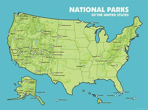 usa map 18 x 24 us national parks map 18x24 poster 2015 best maps