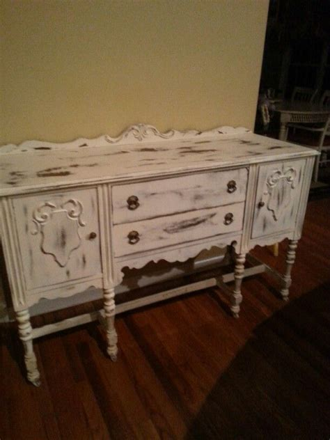 statesville antique buffet  white  distressed nc