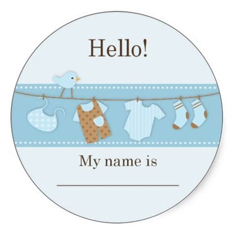 baby shower name tags blue bird on a clothesline baby shower name tag