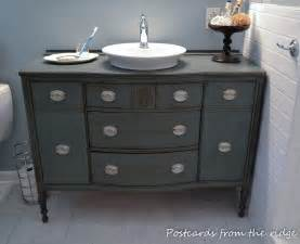 Antique Furniture Turned Into Bathroom Vanity Bathroom Inspiration Open Shelf Vanity Postcards From The Ridge