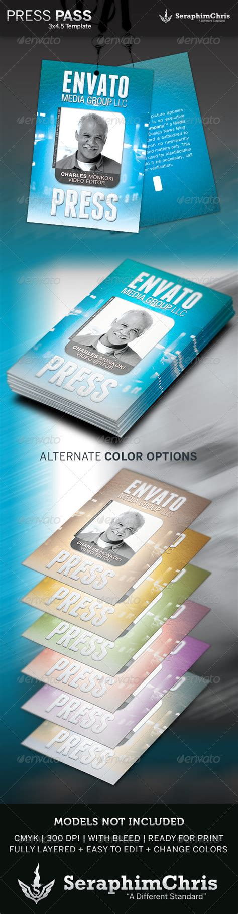 Press Pass Template Graphicriver Media Pass Template Photoshop