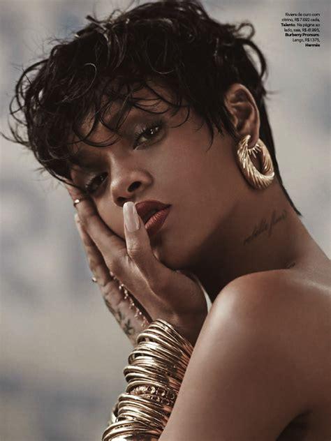 Rihanna Supersized Hoop Earrings by Rihanna S Vogue Brazil Spread Lipstick Tattoos