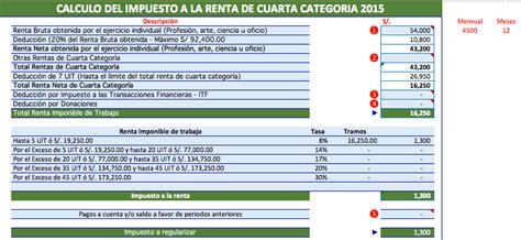 asesoria declaracion renta anual 2012 4ta categoria 2 casos pr 225 cticos de calculo de renta de 4ta categor 237 a