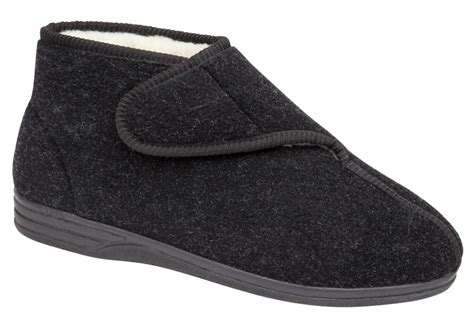 mens fur lined slipper boots mens faux sheepskin fur lined velcro boots slippers black
