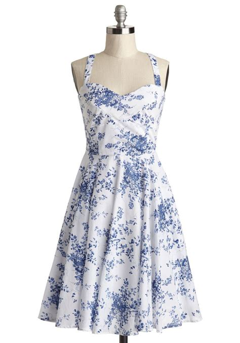garden home tour dress in delft modcloth