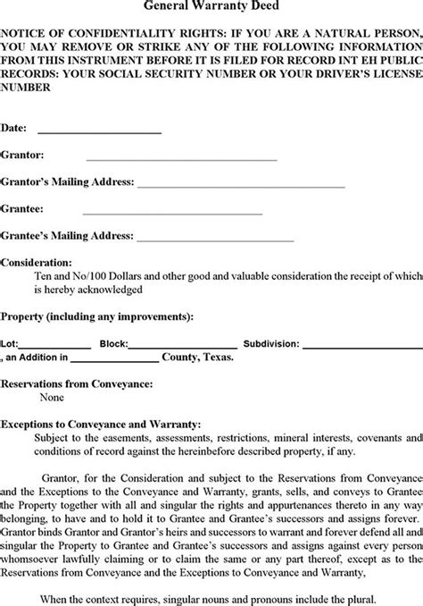 tex document template warranty deed form free premium
