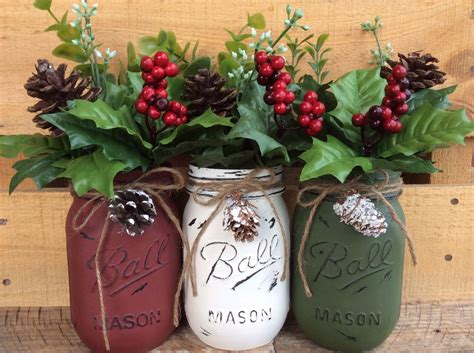 painted mason jars christmas decor vase home decor