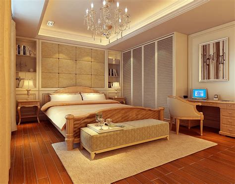 american modern bedroom interior design rendering 3d