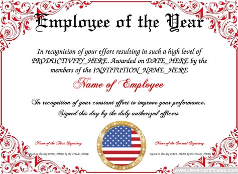 employee of the year certificate template employee of the year template