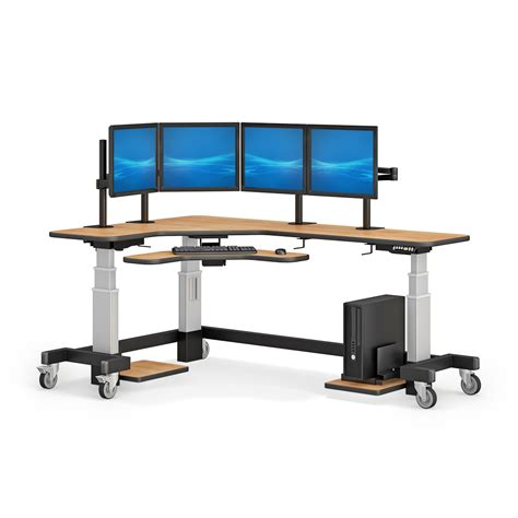 Corner Desk With Monitor Platform Corner Standing Desk With Two Monitor Arm Stand Afcindustries