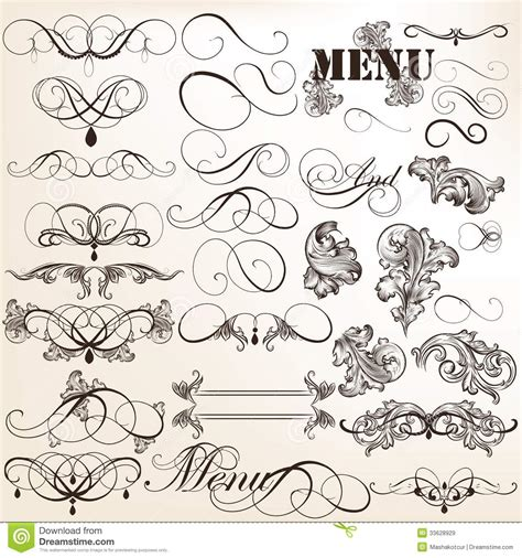 calligraphic vintage design elements vector set calligraphic vector vintage design elements and page