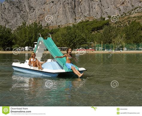 Cildren Boat children on pedal boat at sea 3 royalty free stock images image 25642069