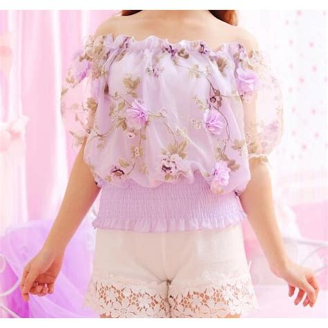 One Shoulder 3d Flower Simple Korean Silk3352 purple violet 3d flower pattern dew shoulder boat neck ruffles summer korean style s