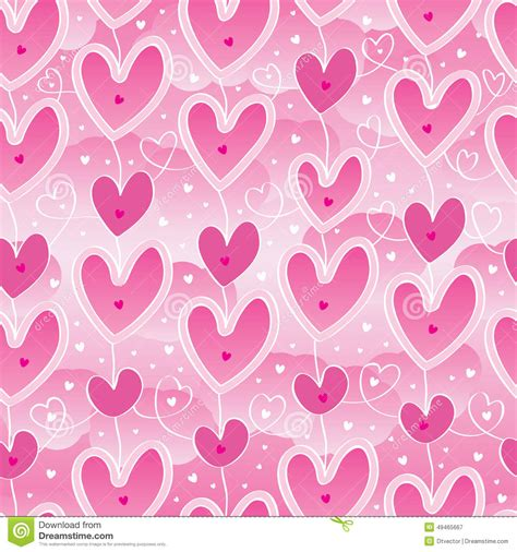 pattern over background pink seamless pattern with linear hearts decorative