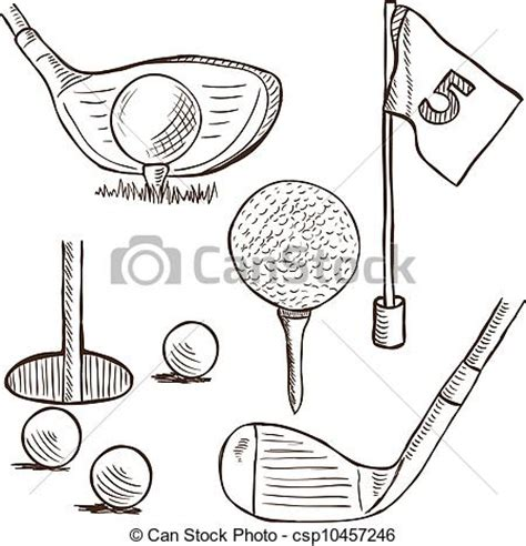 golf collection doodle style illustration  golf