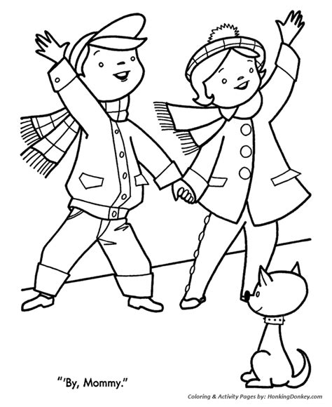 christmas donkey coloring page how to draw going shopping
