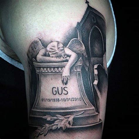 50 tombstone tattoos for men memorial stone designs