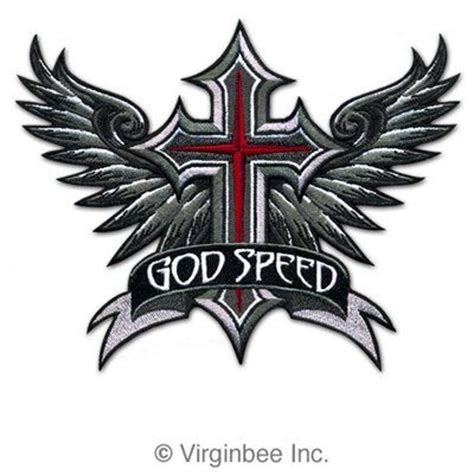 winged cross godspeed wings christian biker vest patch