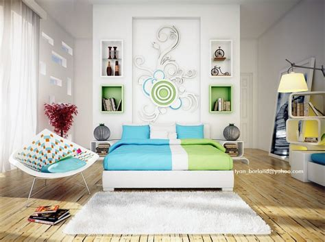 green bedroom feature wall green blue white contemporary bedroom interior design ideas