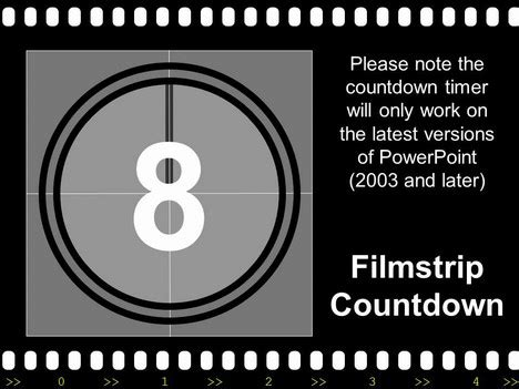 filmstrip with countdown