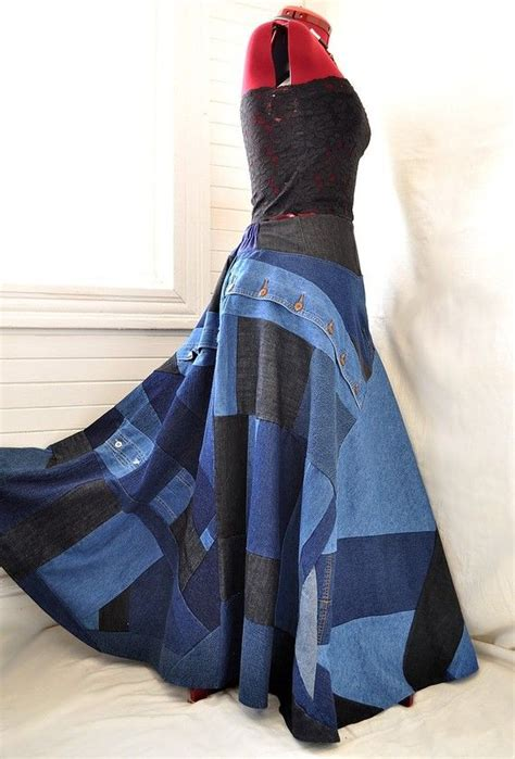 careless blues recycled denim patchwork boho skirt size