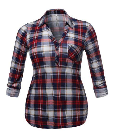 Plaid Sleeve Shirt s half button plaid shirt with 3 4 sleeves