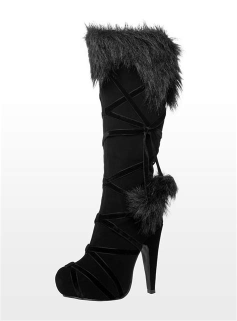 faux fur high heel boots warrior high heel boots with faux fur lovely stuff