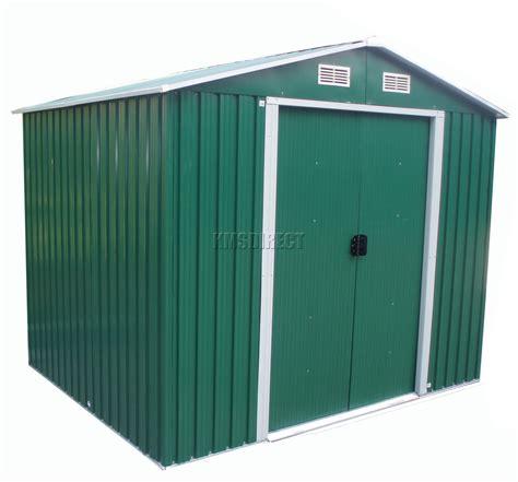 foxhunter green garden shed metal apex 6 x 8ft outdoor