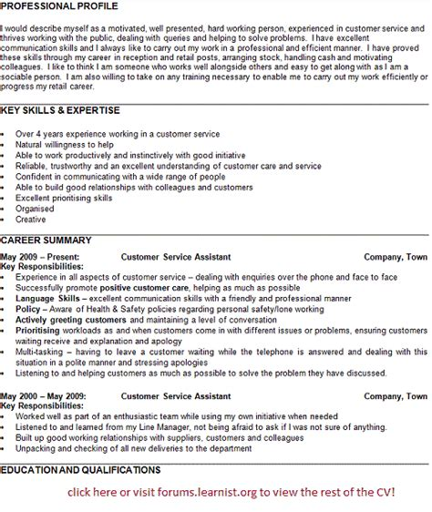 Curriculum Vitae Sles Customer Service Post Reply