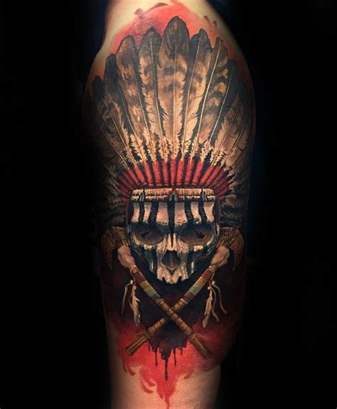 native american skull tattoo 80 indian skull designs for cool ink ideas