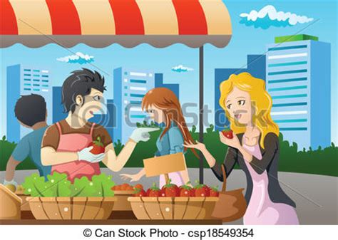 marche trading on line shopping in farmers market a vector illustration