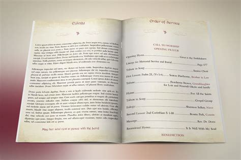 publisher program templates watercolor funeral program publisher template on behance