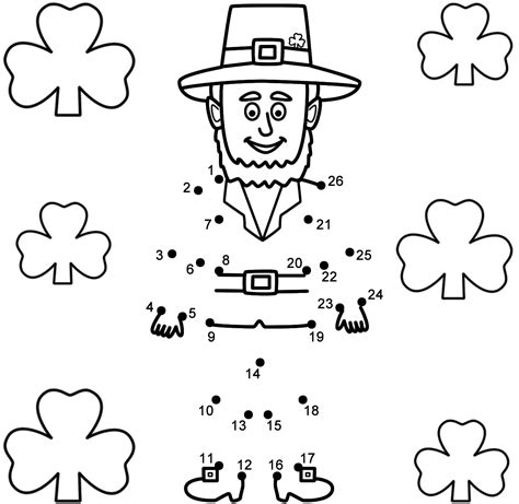 free printable dot to dot shamrock leprechaun with shamrocks connect the dots count by 1 s