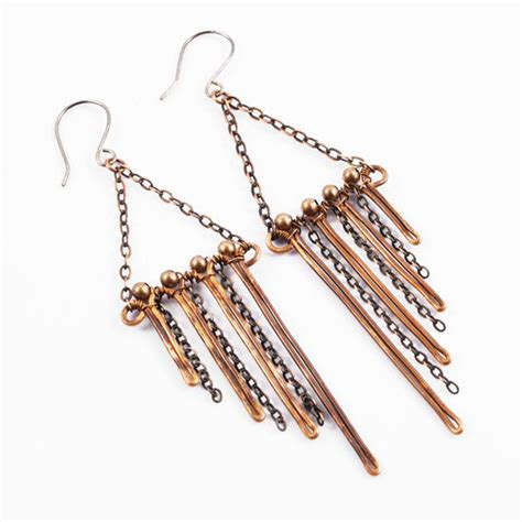 Handcrafted Copper Earrings - unique copper earrings wire wrapped handcrafted by intuicio