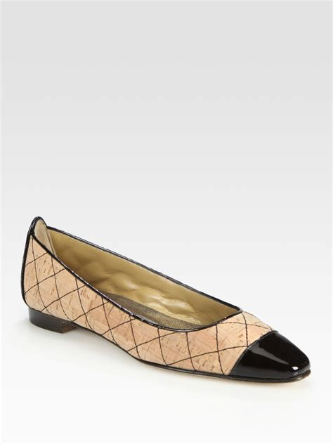 manolo blahnik bb patent leather ballet flats in black lyst manolo blahnik quilted two tone patent leather trim ballet